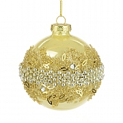 Gold Glass Caradee Bauble 8cm