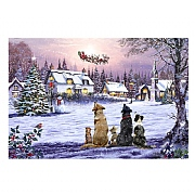 Dogs Watching Santa LED Canvas