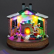 LED Christmas Fireside Scene with Animated Train (Battery Powered)