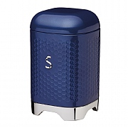 KitchenCraft Lovello Geometric Textured Steel Sugar Canister - Midnight Navy