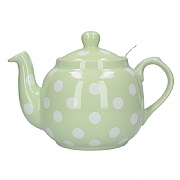 London Pottery Farmhouse 4 Cup Teapot - Peppermint With White Spots