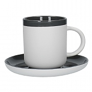 La Cafetiere Barcelona 130ml Espresso Cup & Saucer - Cool Grey