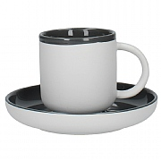 La Cafetiere Barcelona 300ml Coffee Cup & Saucer - Cool Grey