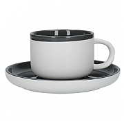 La Cafetiere Barcelona 290ml Tea Cup & Saucer - Cool Grey