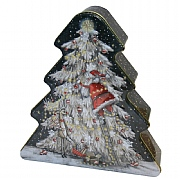 Grandma Wild's Embossed Santa up the Christmas Tree Biscuit Tin 300g