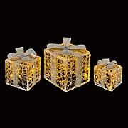 Premier Set of 3 Warm White LED Gold & Silver Acrylic Parcels