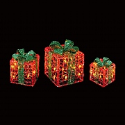 Premier Set of 3 Warm White LED Red & Green Acrylic Parcels