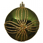 Decoris Pine Green Gold Petal Bauble 8cm