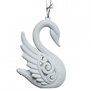 Decoris Winter White Swan Hanging Tree Decoration