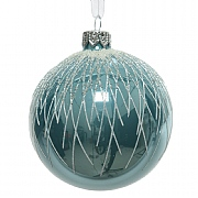 Decoris Arctic Blue Frost Bauble 8cm