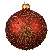 Decoris Christmas Red Glitter Flower Bauble 8cm