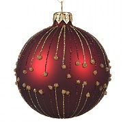 Decoris Oxblood Glitter Droplet Bauble 8cm