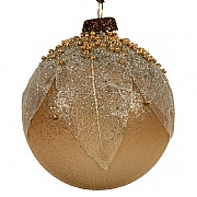 Decoris Woodland Brown Leaf Glitter Bauble 8cm