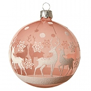 Decoris Blush Pink Reindeer with Star Bauble 8cm