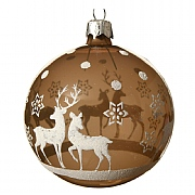 Decoris Cashmere Brown Reindeer with Star Bauble 8cm