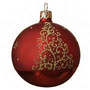Decoris Christmas Red Curly Tree Glitter Bauble 8cm