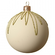 Decoris Wool White Gold Glitter Droplet Bauble 8cm