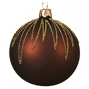 Decoris Rosewood Gold Glitter Droplet Bauble 8cm