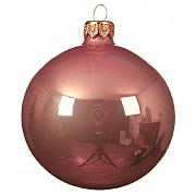Decoris Velvet Pink Plain Enamel Bauble 10cm
