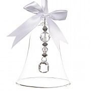 Decoris Clear Glass Bell with Acrylic Beads