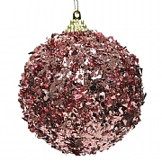 Decoris Velvet Pink Foam Bauble with Foil 8cm