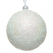 Decoris White Foam Bauble with Glitter 8cm
