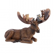 Decoris Brown Moose with Animals on Antlers Ornament