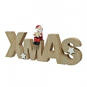 Decoris Wooden Xmas Sign with Santa