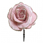 Decoris Blush Pink Velvet Rose on Clip