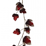 Decoris Red Velvet Leaf Garland