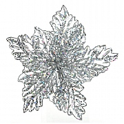 Decoris Silver Poinsettia with Glitter on Clip