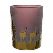 Decoris Purple & Gold Deer T-Lite Holder
