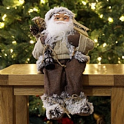 Brown Sitting Santa Figure with Welcome Sign - 40cm