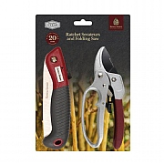 Kent & Stowe Ratchet Secateurs & Turbo Saw Set