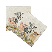 Kate of Kensington Farmyard Marble Coasters (Set of 2)