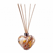 Amelia Art Glass Gold & White Crackled Heart Reed Diffuser