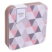Pack of 6 Geo Pink & Grey Coasters