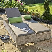 Kettler Palma White Wash Lounger with Cushion