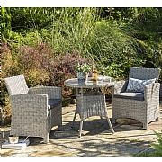 Kettler Palma White Wash Bistro Set (Glass Top)