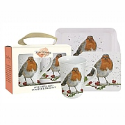 Bree Merryn Christmas Robin Fine China Mug, Coaster & Tray Set