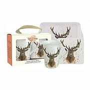 Bree Merryn Christmas Stag Fine China Mug, Coaster & Tray Set