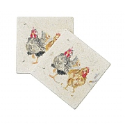 Kate of Kensington Hen Pals Marble Coasters (Set of 2)