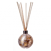 Amelia Art Glass Gold & White Crackled Sphere Reed Diffuser