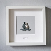 Love' Silver Foil Pebble Picture 23x23cm