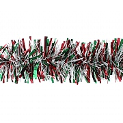 Festive Red, Green & White Tinsel - 2m