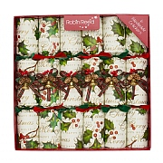 "Robin Reed Holly Bells 12"" Christmas Crackers (Pack of 6)"