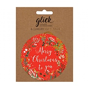 Glick Stephanie Dyment Red Wreath Gift Tag (Pack of 6)