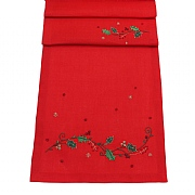 "Peggy Wilkins Festive Flora Embroidered Christmas Red Table Runner 14""x75"""
