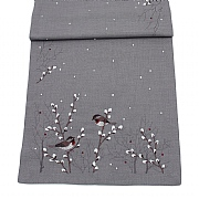 "Peggy Wilkins Hedgerow Grey Embroidered Christmas Robin Table Runner 16""x40"""