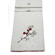 "Peggy Wilkins Pussywillow Christmas Robin Table Runner 14""x75"""